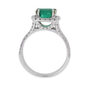 14k White Gold 2ct Cushion Cut Emerald and 0.85ctw Diamond Ring