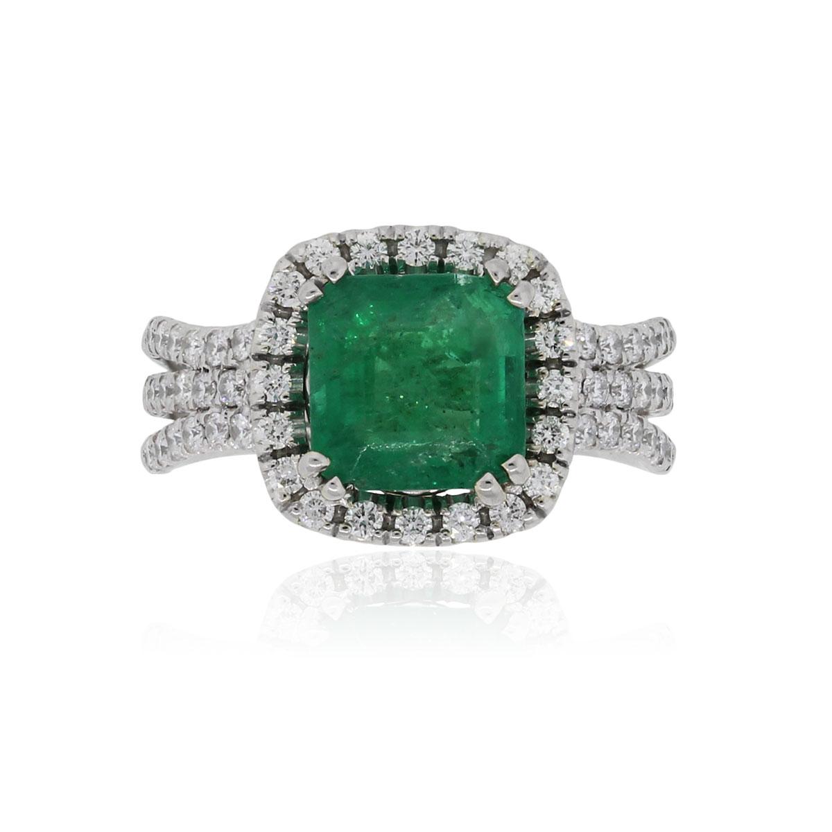 14k White Gold 2ct Cushion Cut Emerald and 0.85ctw Diamond Ring
