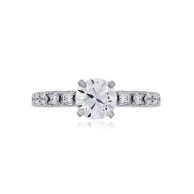 Platinum 1ct GIA Certified Round Brilliant 0.30ctw Diamond Engagement Ring