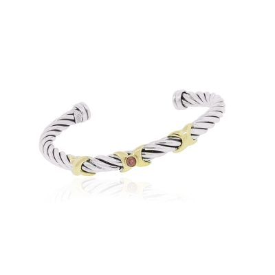 18k Yellow Gold Sterling Silver Pink Cabochon Cable Bangle Bracelet