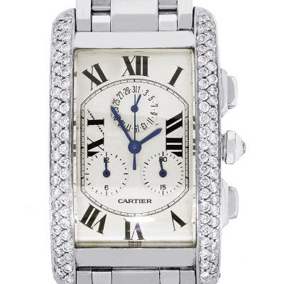 Cartier Tank Americaine 18k White Gold 1.80ctw Diamond Bezel Gents Watch