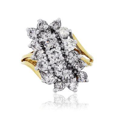 14k Yellow Gold 1.20ctw Round Brilliant Diamonds Cluster Ring