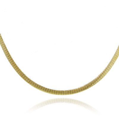 """14k Two Tone Reversible Omega Chain 19"""" Necklace"""