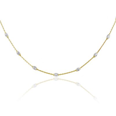 "Officina Bernardi Platinum & Sterling Silver 36"" Oval Station Necklace"