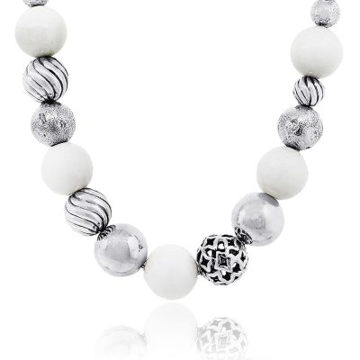 David Yurman Sterling Silver Elements White and Silver Bead Necklace