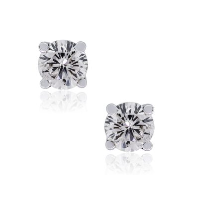 14k White Gold 0.83ctw Round Brilliant Diamond Stud Earrings