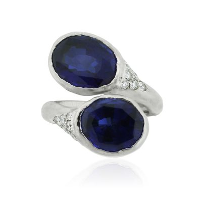 18k White Gold 13.8ctw Sapphire and 0.35ctw Diamond Ring