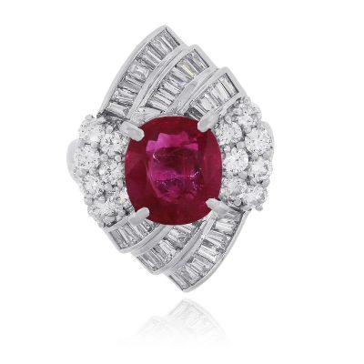 Platinum 3.97ct Cushion Cut Ruby and 1.84ctw Diamond Ring