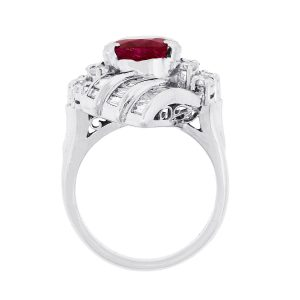 Platinum 3.97ct Cushion Cut Ruby and 1.84ctw Diamond Ring