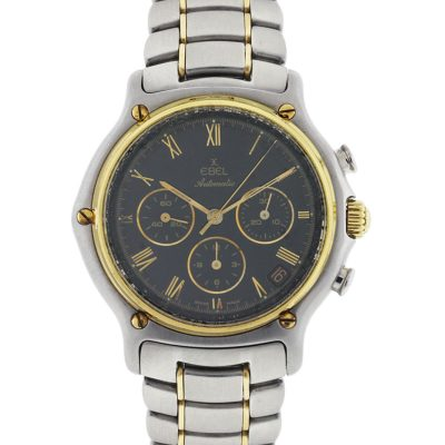 Ebel 1911 Two Tone Chronograph Black Dial Watch