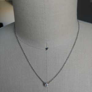 14K White Gold 0.42ctw Round Brilliant Solitaire Pendant Necklace