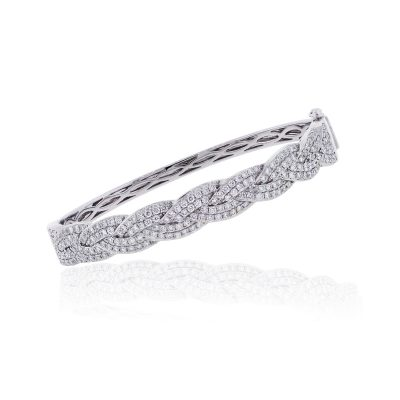 18k White Gold 2.45ctw Diamond Braided Bangle Bracelet