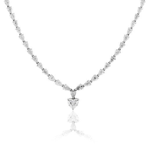 18k White Gold 1.75ct Heart Diamond & 14.27ctw Pear Shape Diamond Drop Necklace
