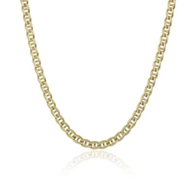 14k Yellow Gold Hammered Mariner Link Necklace