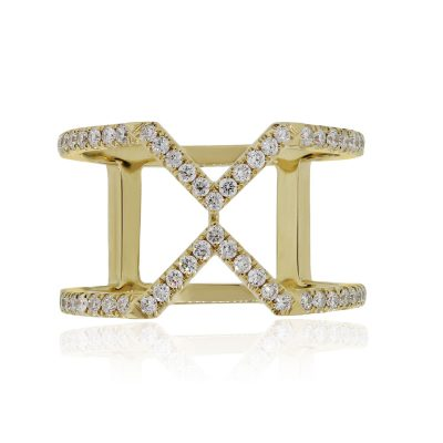 "18k Yellow Gold 0.44ctw Diamond ""X"" Wide Band Ring"