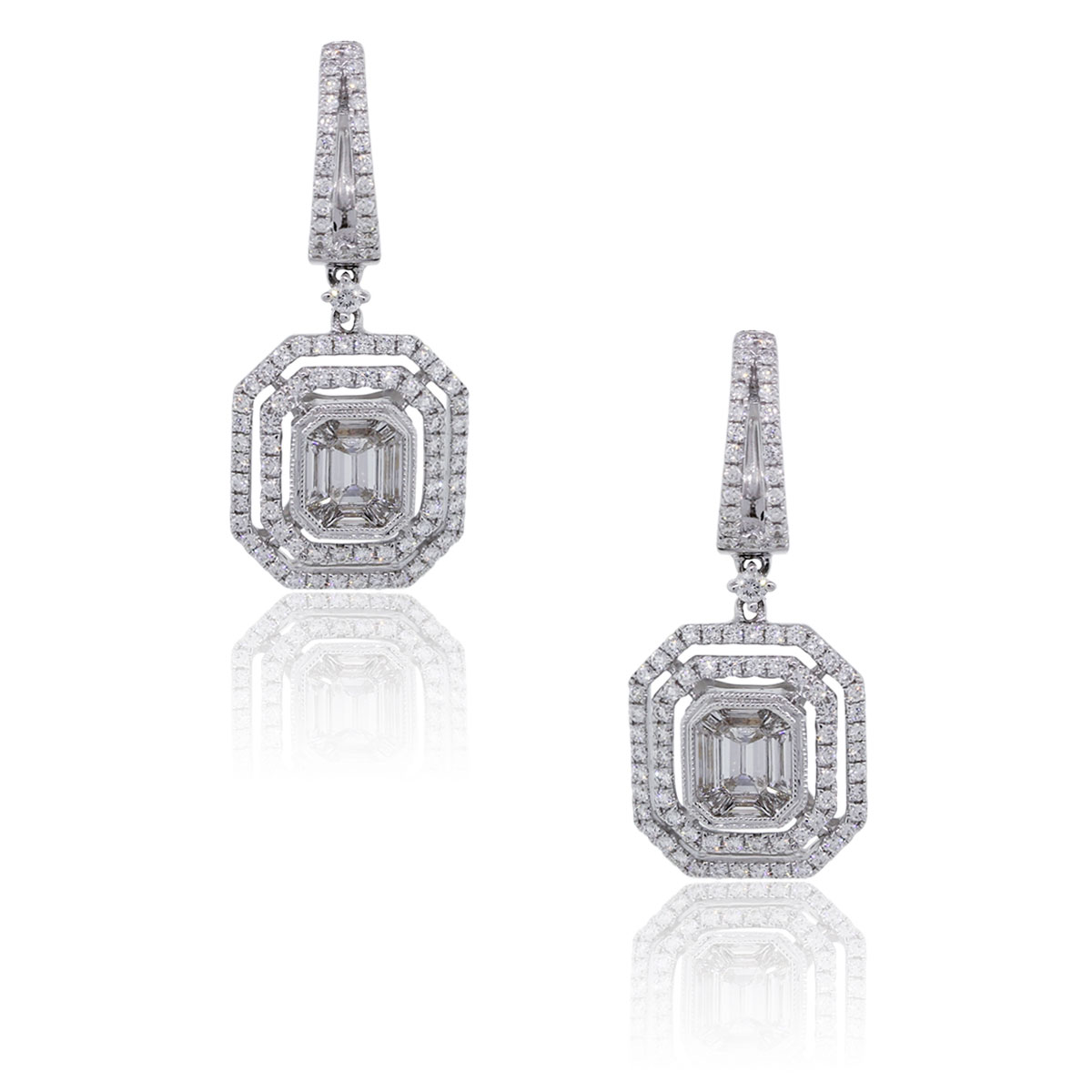 18k White Gold 1.78ctw Diamond Double Halo Mosaic Dangle Earrings