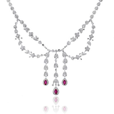 14k White Gold 1.50ctw Diamond and 1.2ctw Pear Shape Ruby Dangling Necklace