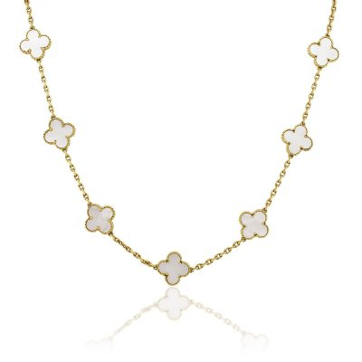 Van Cleef & Arpels 18k Yellow Gold 20 Motif Mother of Pearl Necklace