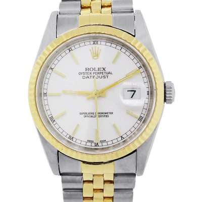 Rolex 16233 Datejust Two Tone White Dial Watch