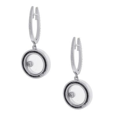 18k White Gold 0.40ctw Floating Diamond Hoop Earrings