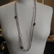 David Yurman Diamond & Onyx Quatrefoil Multi Strand Necklace
