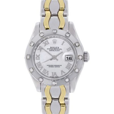 Rolex 80319 Datejust Pearlmaster 18k Two Tone Gold Diamond Watch
