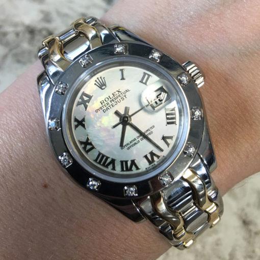 Rolex 80319 Datejust Pearlmaster 18k Two Tone Gold Diamond Watch