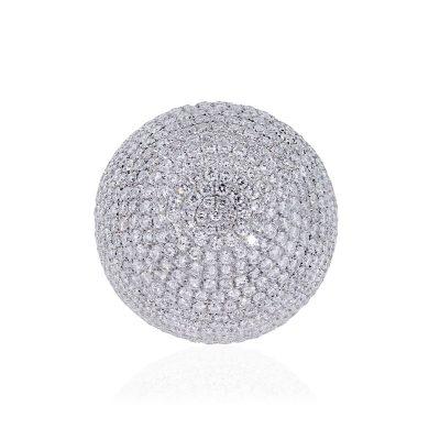 18k White Gold 13.2ctw Diamond Pave Dome Ring