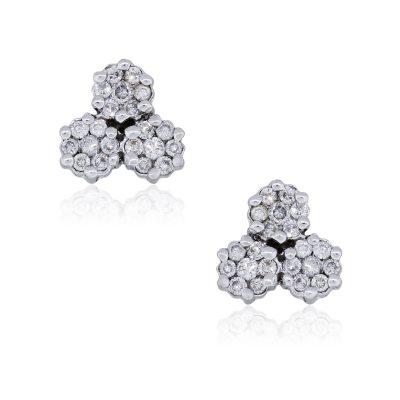 14k White Gold 0.65ctw Round Diamond Mosaic Earrings