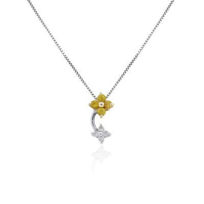 14k White Gold 0.04ctw Diamond and Yellow Stone Flower Pendant and Necklace