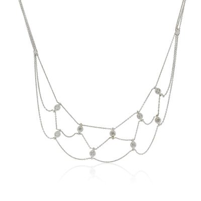 18k White Gold 0.30ctw Bezel Set Diamond Multi Strand Necklace
