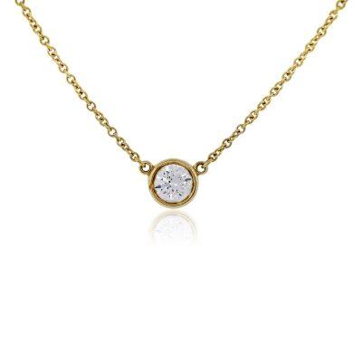 Tiffany & Co. Elsa Peretti 18k Yellow Gold Diamonds by The Yard Pendant Necklace