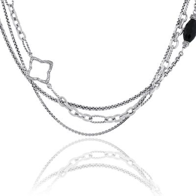 David Yurman Diamond & Onyx Quatrefoil Multi Strand Necklace