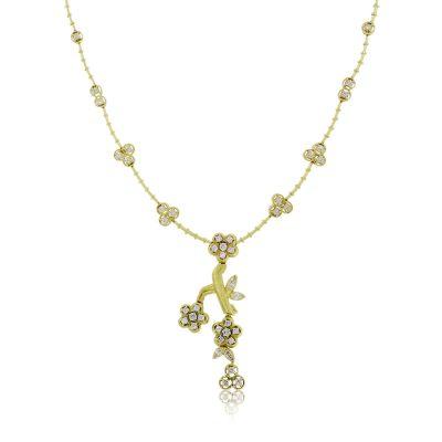 Kaufmann De Suisse 18k Yellow Gold 2.50ctw Diamond Floral Dangle Necklace