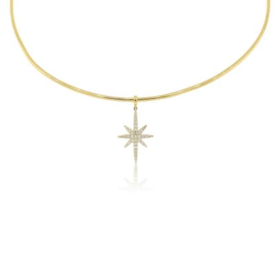 KC Designs 14k Yellow Gold 0.20ctw Diamond Hanging Star Wire Necklace