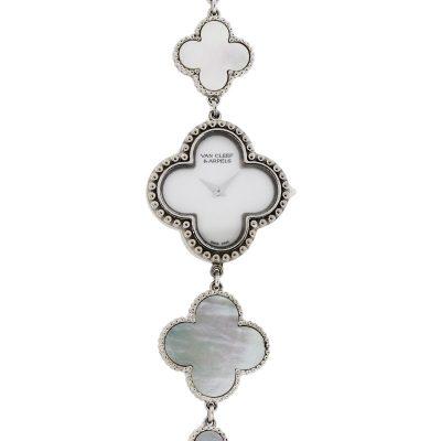 Van Cleef & Arpels Alhambra 18k White Gold and Mother of Pearl Ladies Watch