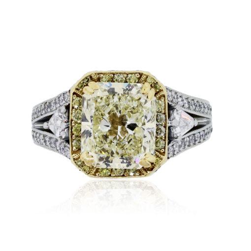 Gregg Ruth Platinum and 18k Yellow Gold 3.42ct Fancy Yellow Diamond Engagement Ring