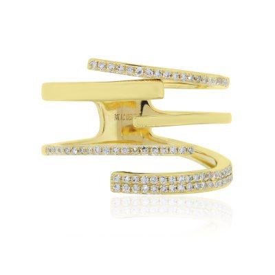 KC Designs 14k Yellow Gold 0.23ctw Diamond Multi Row Ring