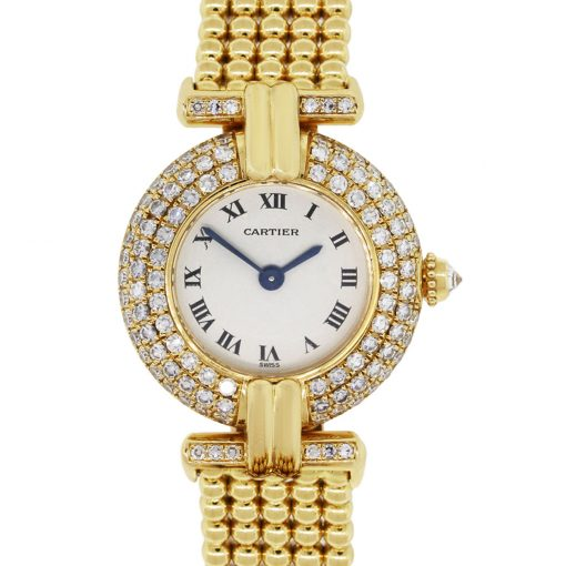Cartier 1980 Colisee 18k Yellow Gold Diamond Bezel Ladies Watch