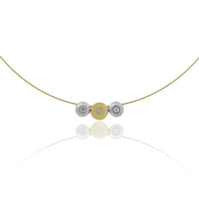 14k Yellow Gold 0.07ctw Diamonds On Disk Wire Necklace