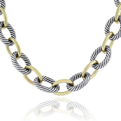 """David Yurman Two Tone X Large Oval Link 25"""" Necklace"""