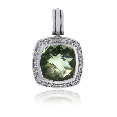 David Yurman Sterling Silver Diamond Prasiolite 14mm Pendant