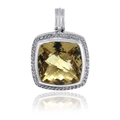 David Yurman Sterling Silver 19mm Champagne Citrine & Diamond Pendant