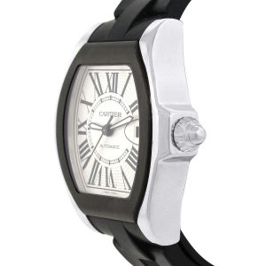 Cartier 3312 Coaster Silver Dial On Black Rubber Watch