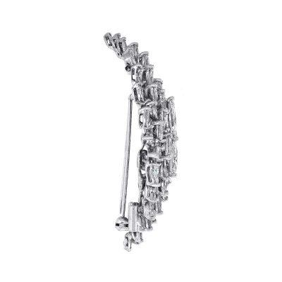 18k White Gold 6.00ctw Princess & Marquise Cut Diamond Pin