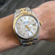 Rolex Datejust Two Tone Silver Dial Jubilee Band Watch