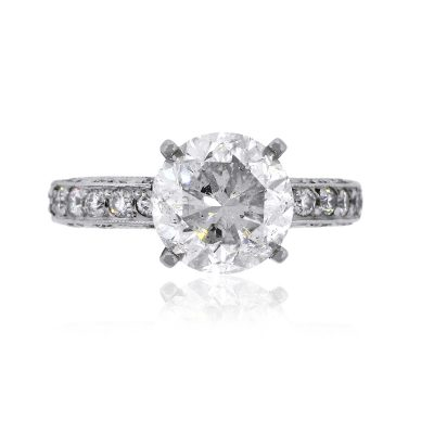 Tacori Platinum 3.66ct Round Brilliant Diamond Engagement Ring