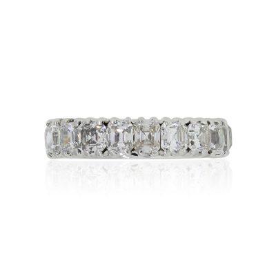 18k White Gold 4.5ctw Asscher and Emerald Cut Diamond Band