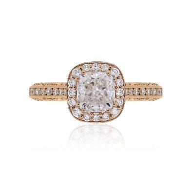 Tacori 18k Rose Gold 2.95ctw GIA certified Diamond Halo Engagement Ring