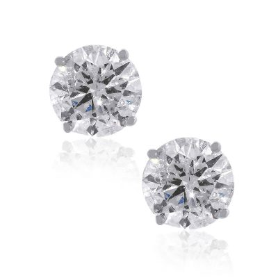 14k White Gold 6.03ctw Round Brilliant Diamond Stud Earrings